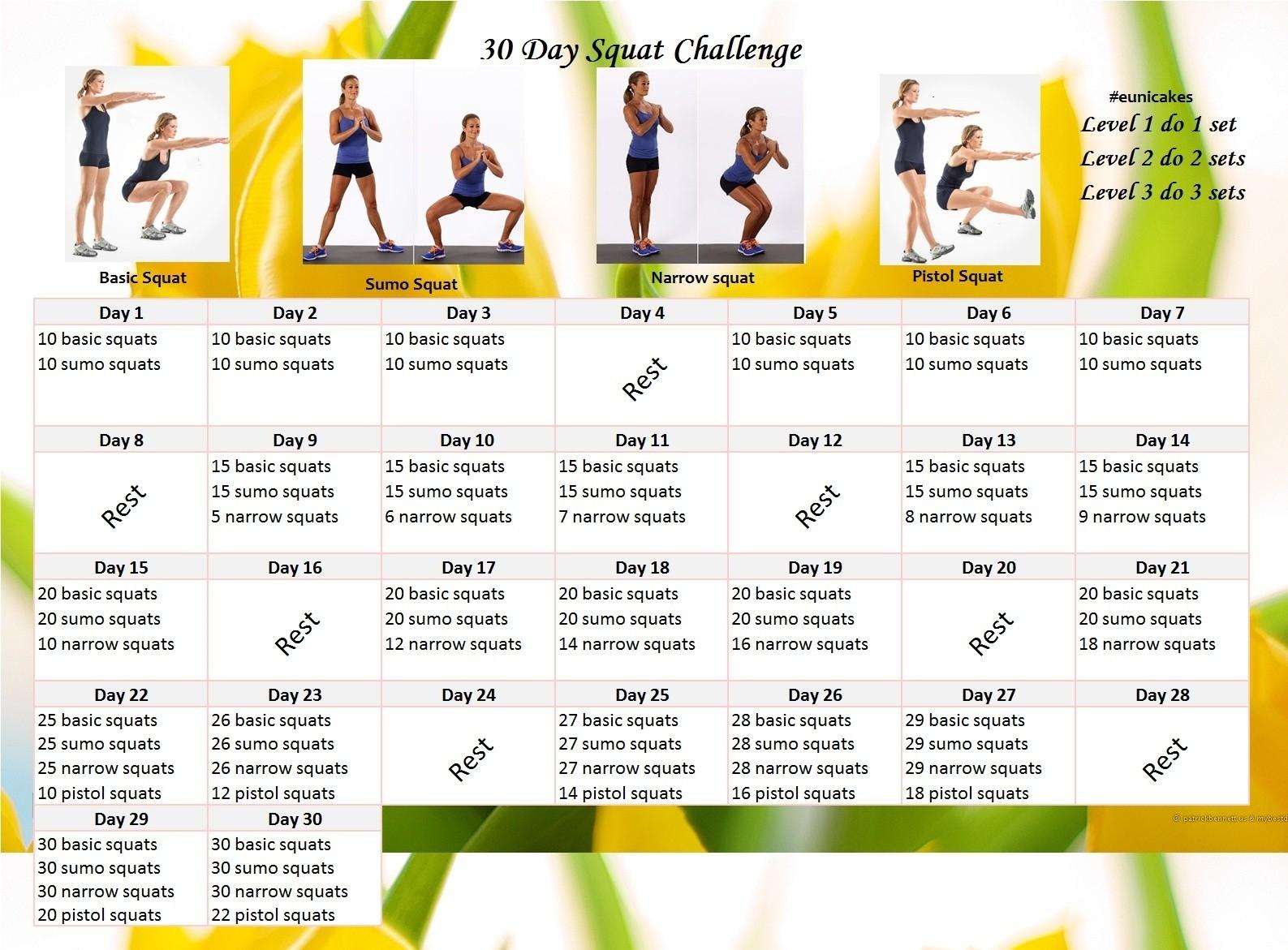 Fitness Challenge: 30 Day Squat Calendar Challenge | Eunicakes  30 Day Challenge Calendar