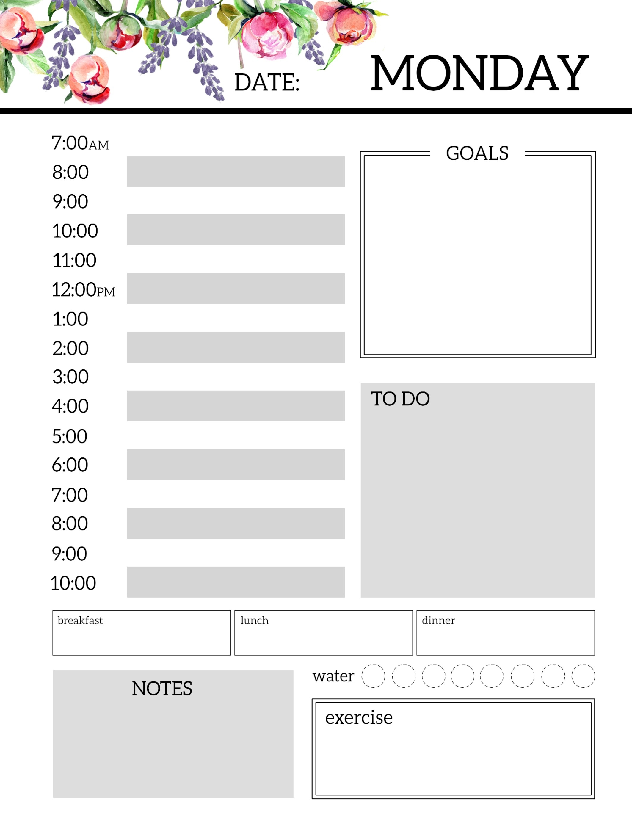 Floral Free Printable Daily Planner Template Sheets - Paper  Free Printable Daily Schedule