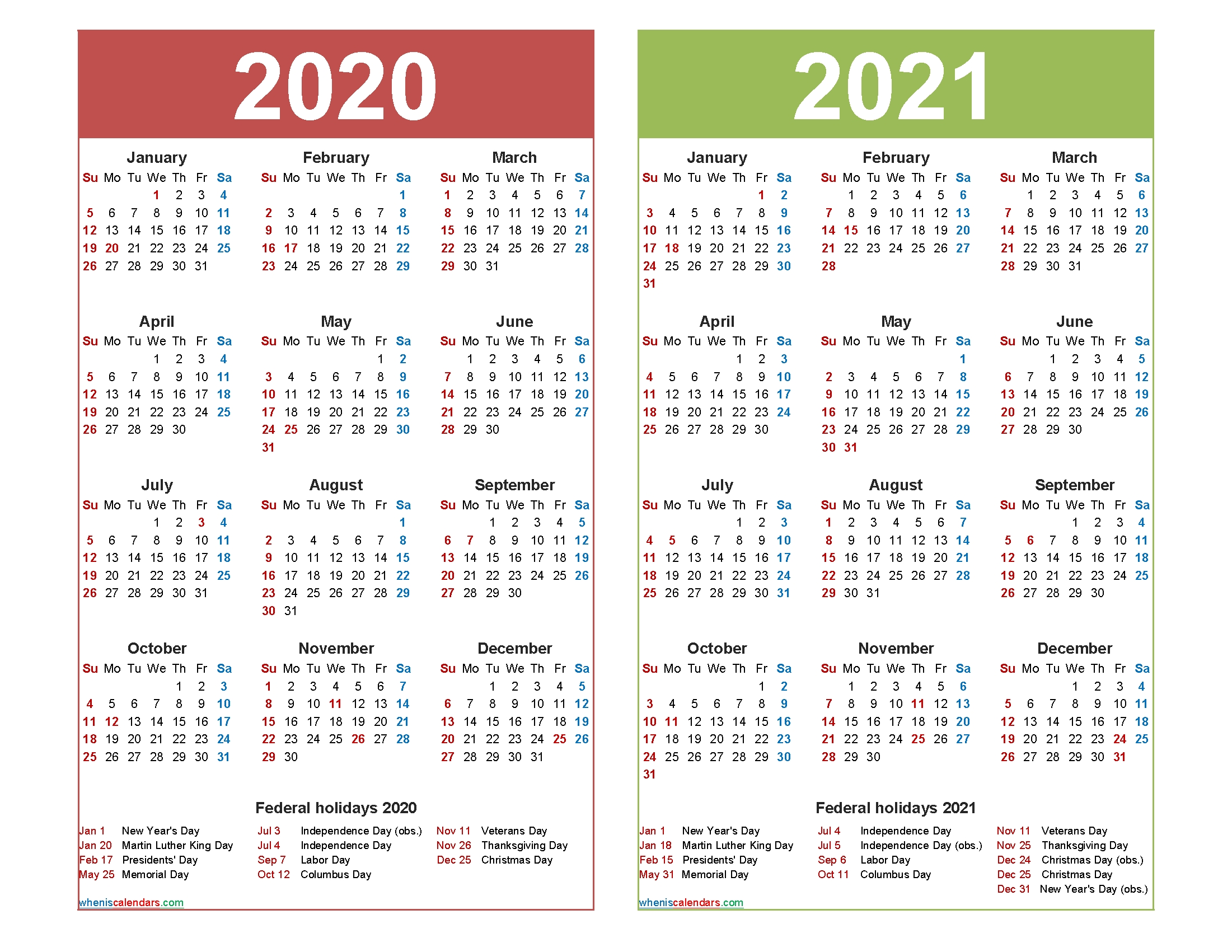 Free 2020 And 2021 Calendar Printable With Holidays – Free  Printable 12 Month 2020 2021 Calendar
