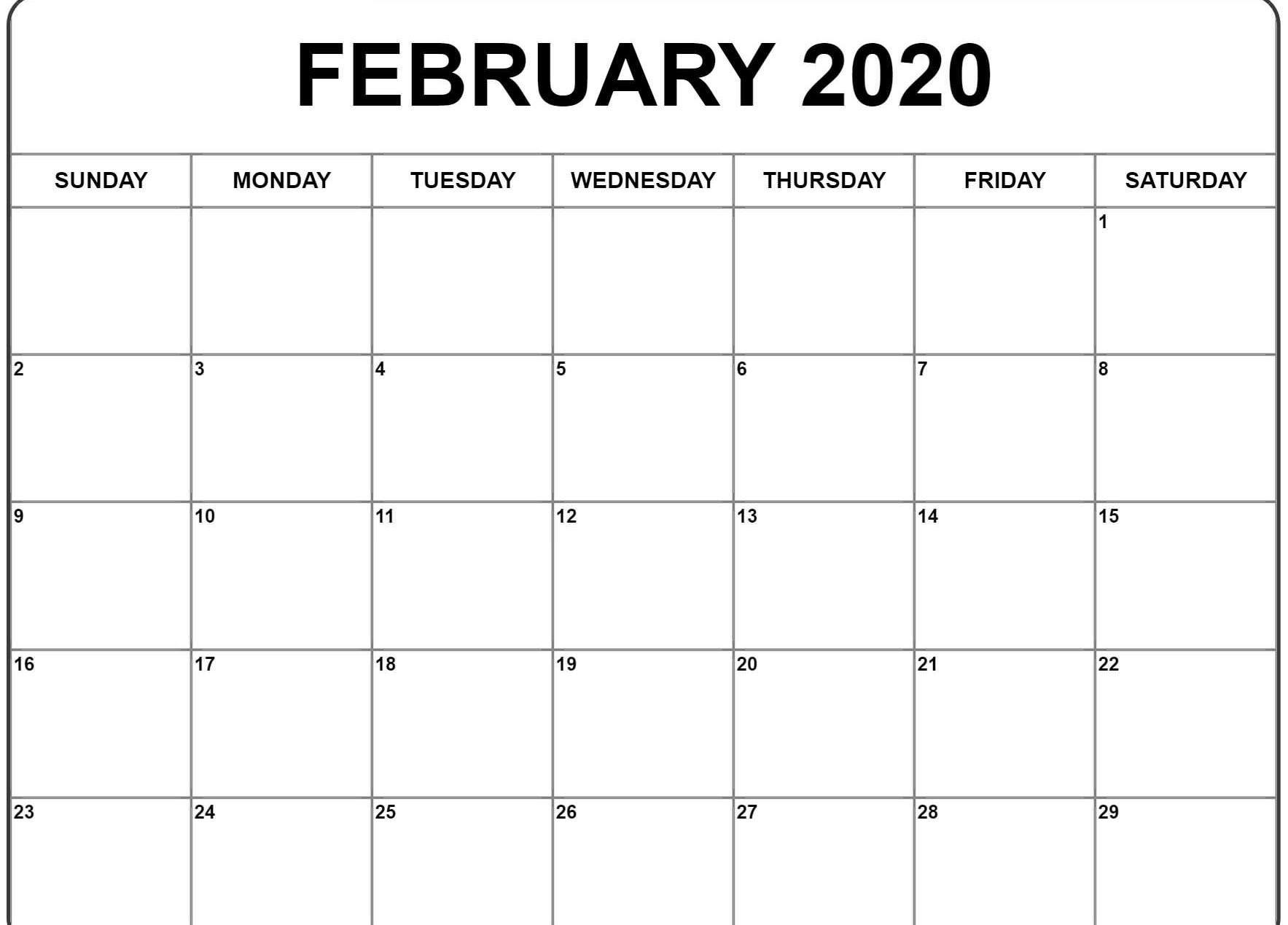 Free 2020 Editable February Calendar Blank Template  Free Editable 2020 Monthly Calendars With Notes