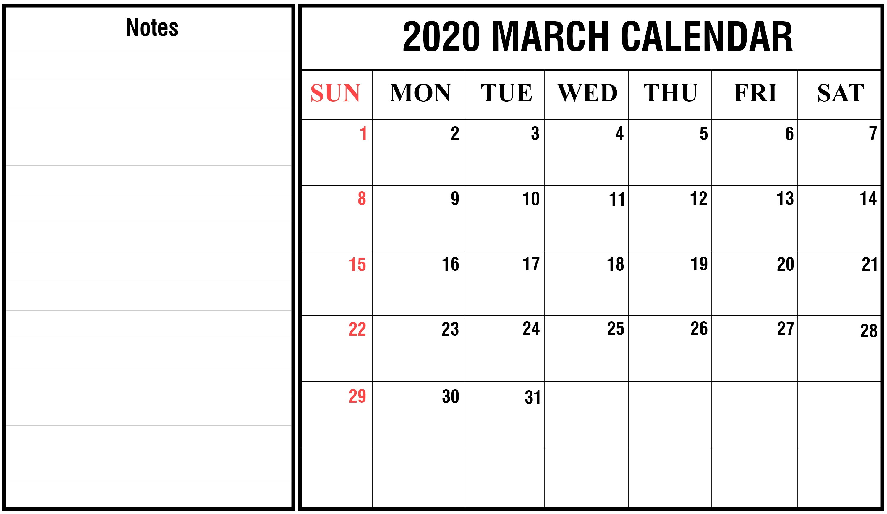 Free 2020 March Calendar Printable Editable Template Blank  Free Editable 2020 Monthly Calendars With Notes