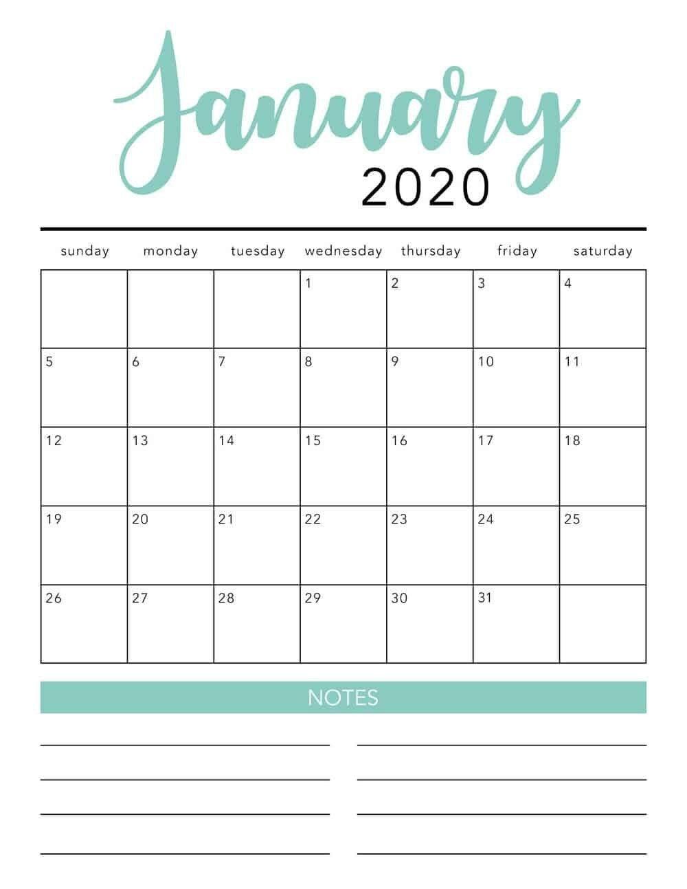 Free 2020 Monthly Calendar Printable   Free Printable  Free Printable 2020 Monthly Calendar