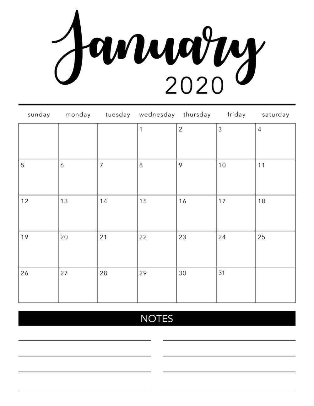 Free 2020 Printable Calendar Template (2 Colors!) - I Heart  Calendar 2020 Free Printable