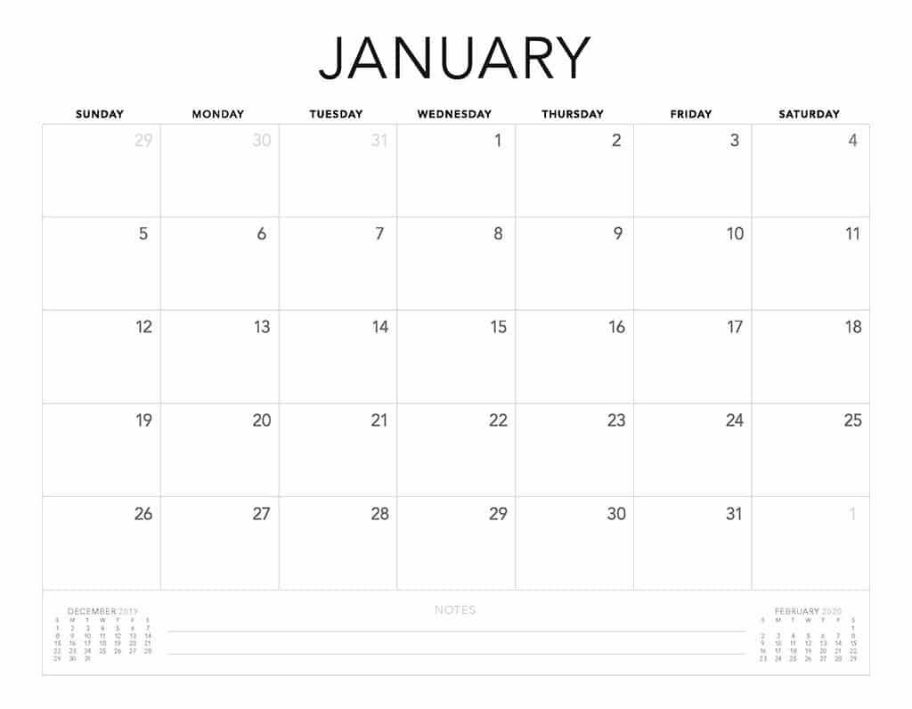 Free 2020 Printable Calendars - 51 Designs To Choose From!  2020 Calendar Simple