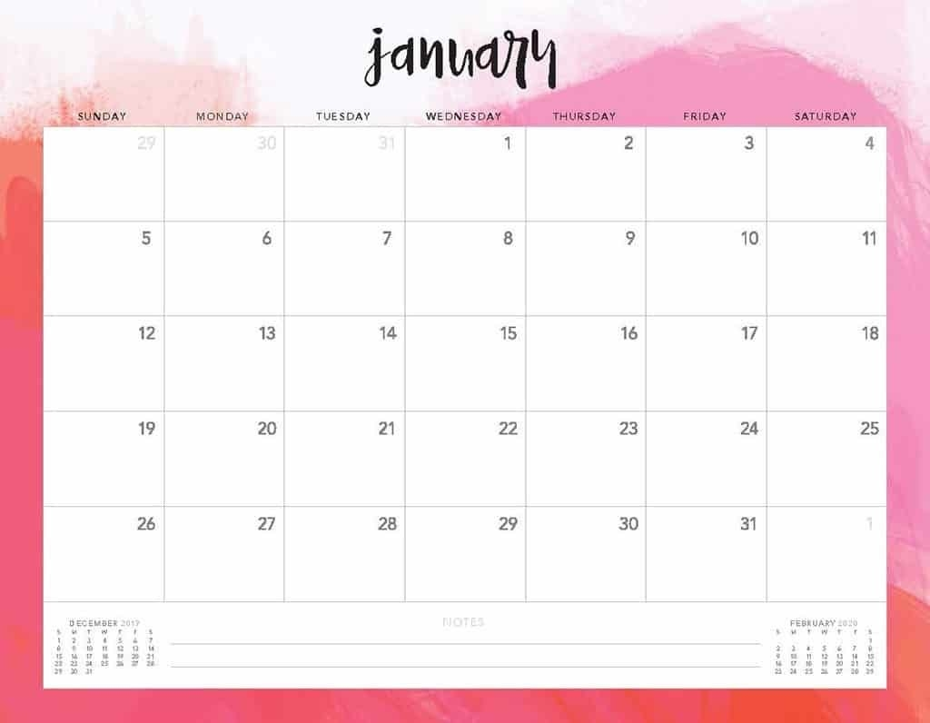 Free 2020 Printable Calendars - 51 Designs To Choose From!  Free Printable 2020 Monthly Calendar