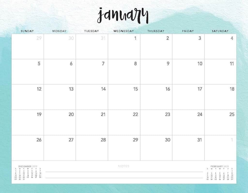 Free 2020 Printable Calendars - 51 Designs To Choose From!  Printable 2020 Monthly Calendar Template Girly