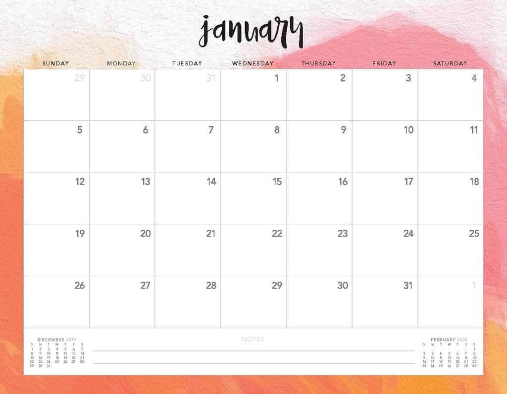 Free 2020 Printable Calendars - 51 Designs To Choose From!  Printable Calendar Monthly 2020 Free