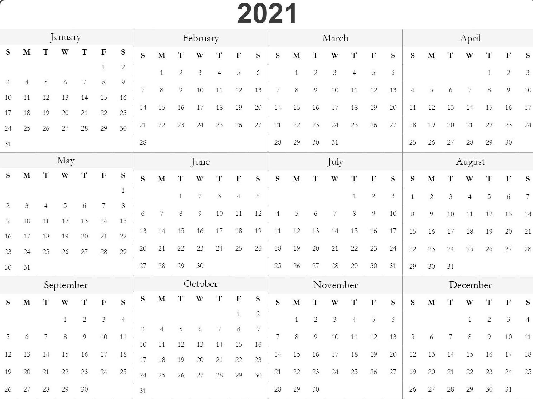 Free 2021 Printable Monthly Calendar With Holidays Word Pdf  2021 Printable Free Attendance Tracker