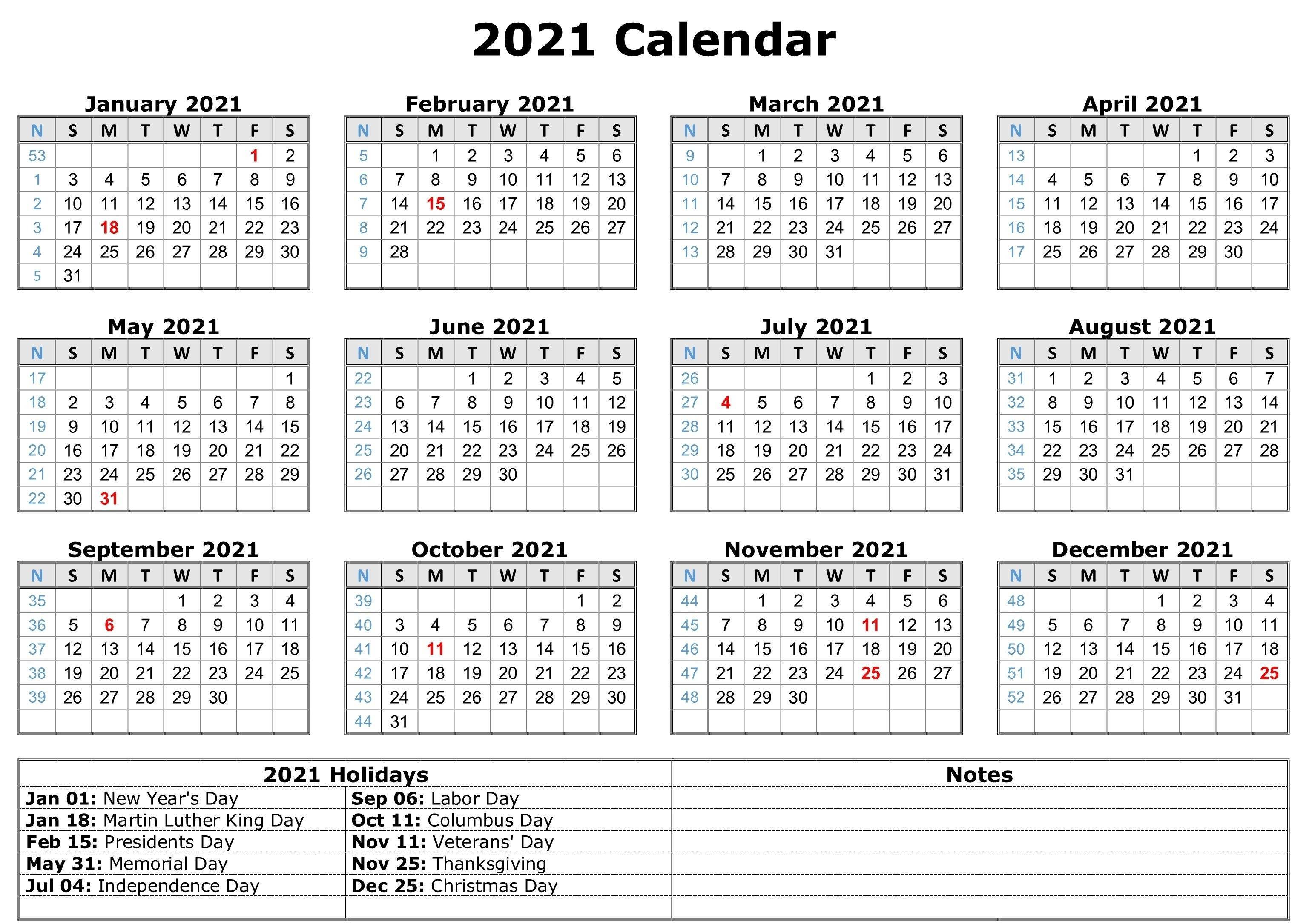 Free 2021 Printable Monthly Calendar With Holidays Word Pdf  Print Pocket 2021 Calendar Free