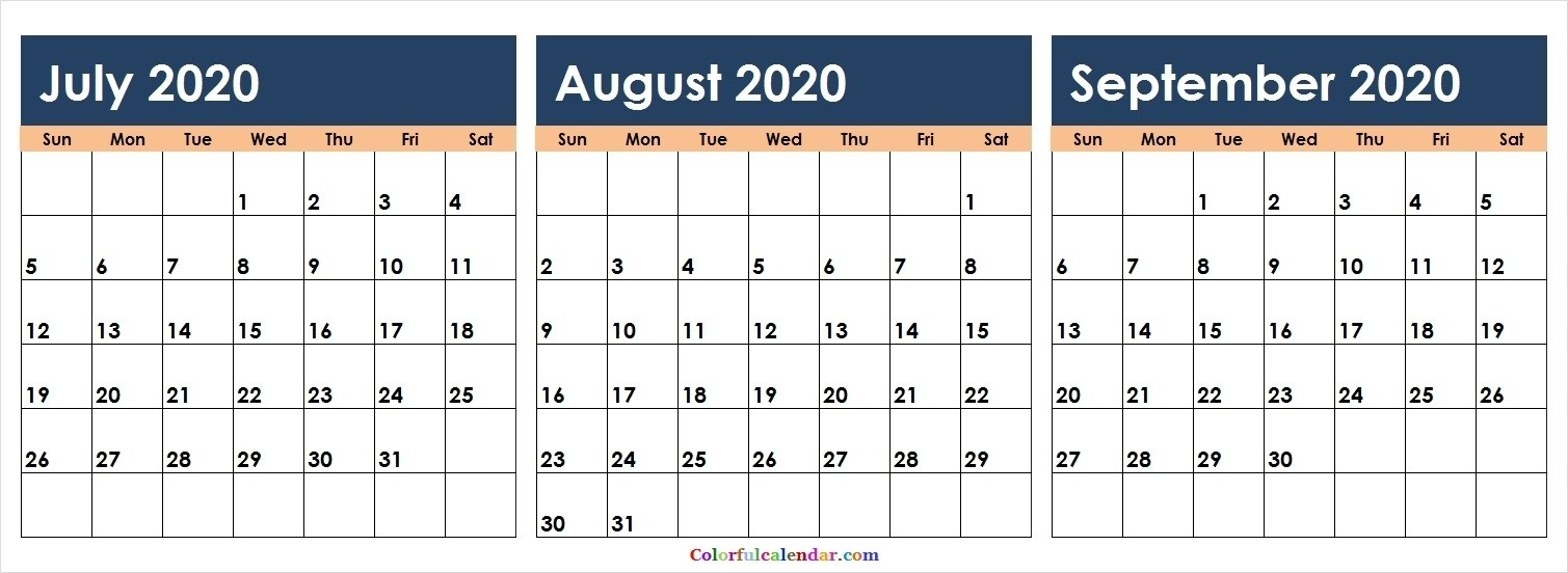 Free 3 Months July August September 2020 Calendar Colorful  June July August September 2020 Calendar