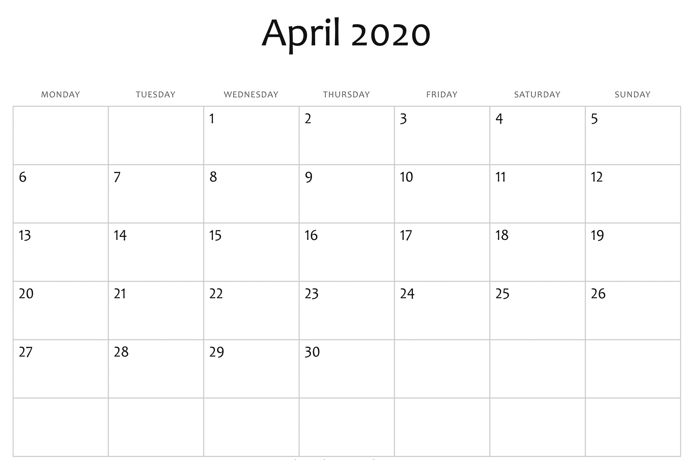 Free April Calendar 2020 Free Printable Template Pdf Word  Printable Calendar 2020