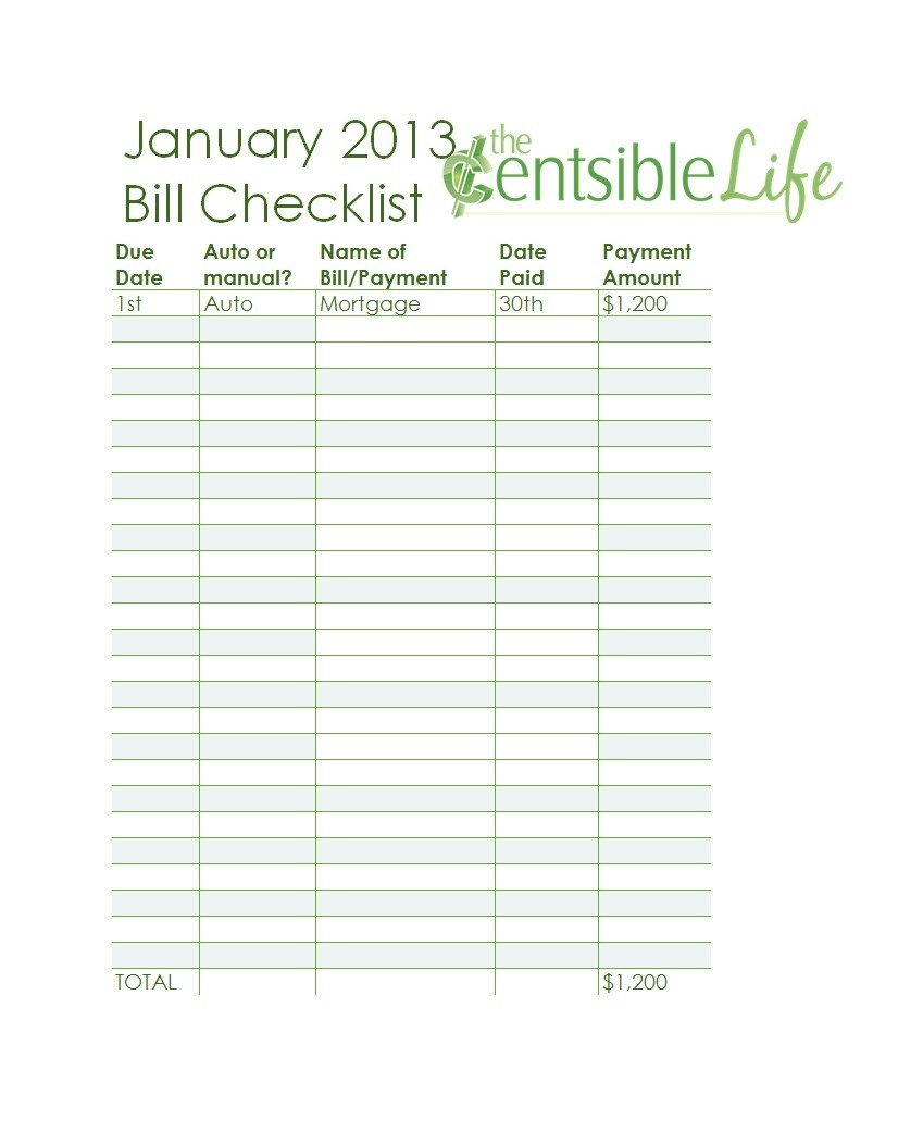 Free Bill Pay Checklists Calendars Pdf Word Excel Checklist  Free Printable Bill Payment Sheet