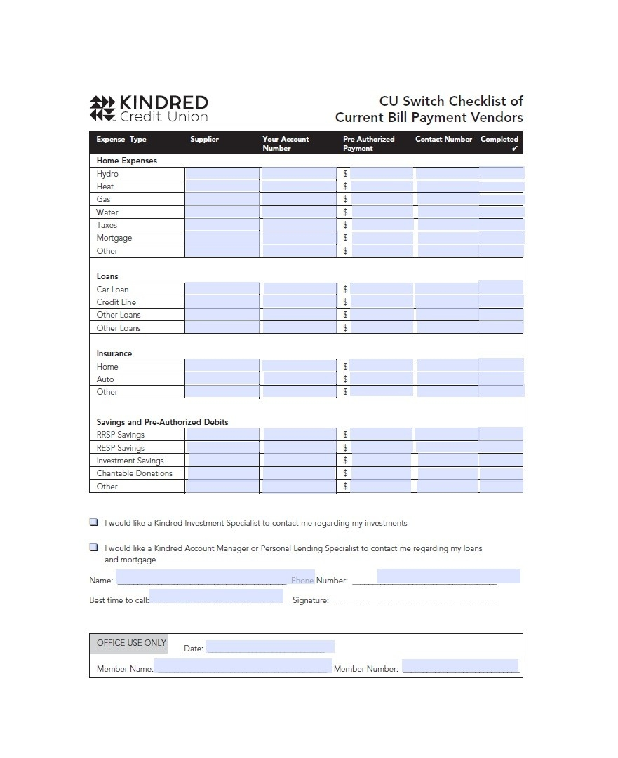 Free Bill Pay Checklists Calendars Pdf Word Xcel Online  Monthly Payment Sheet Pdf