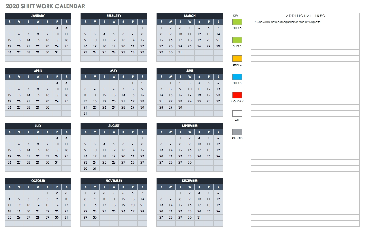 Free Blank Calendar Templates - Smartsheet  16/17 Fin Year Calendar Entries
