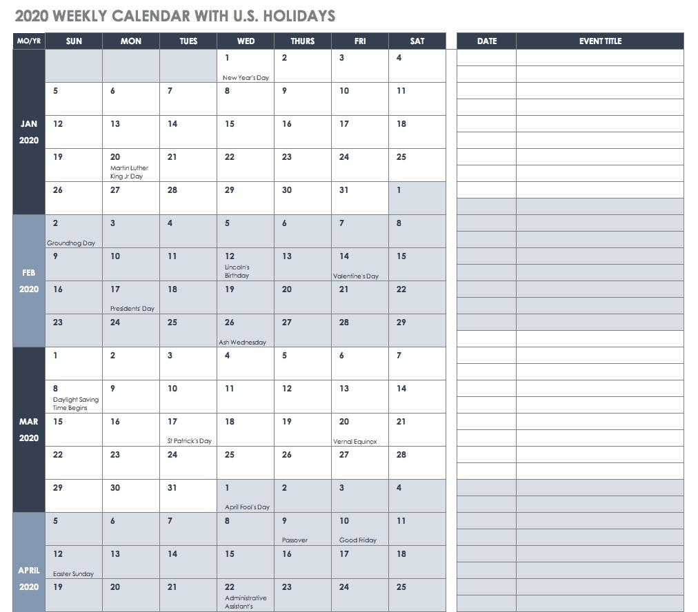 Free Blank Calendar Templates - Smartsheet  Weekly Calendar 2020