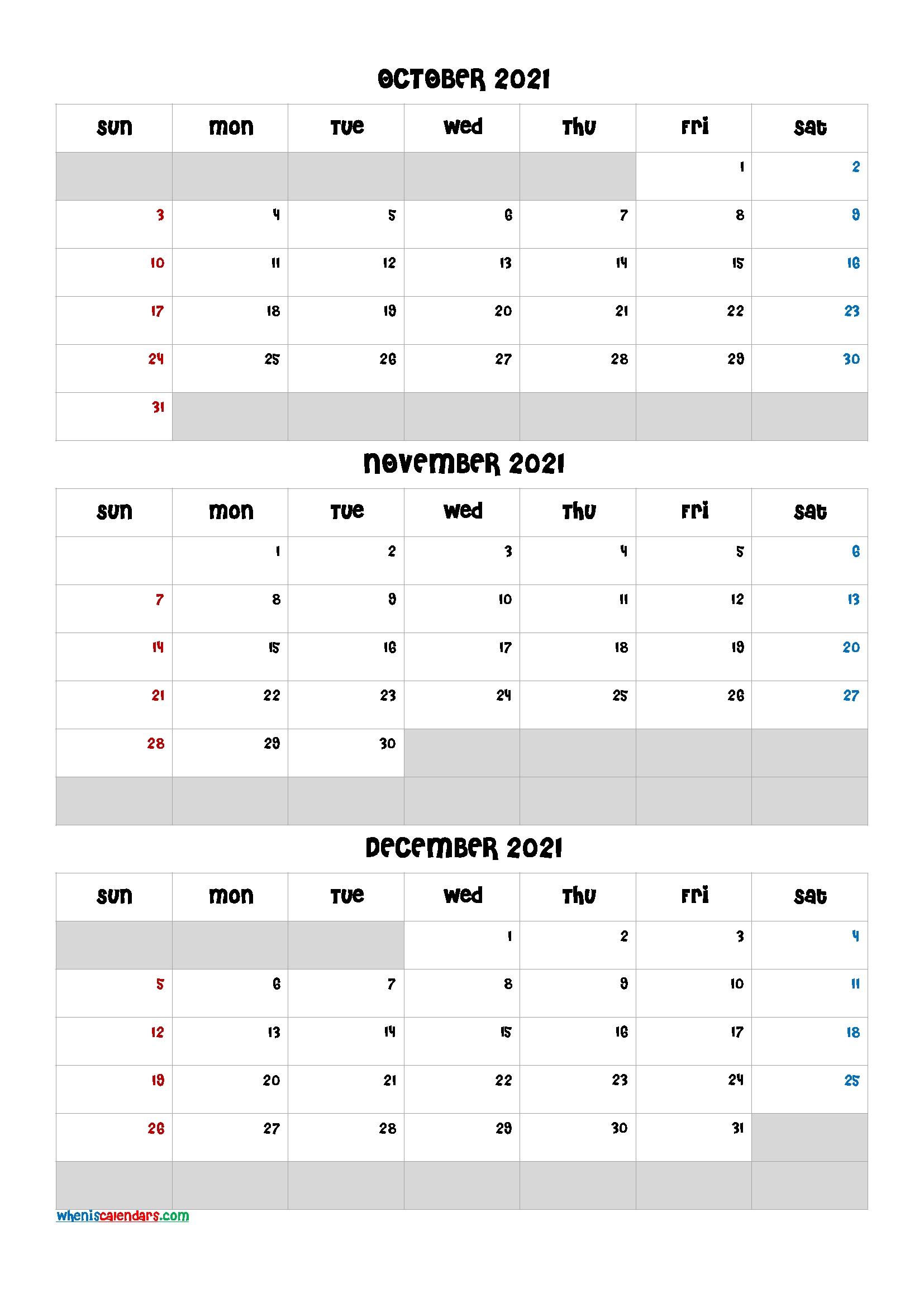 Free Calendar October November December 2021-Template Code  Calendar October November December 2021