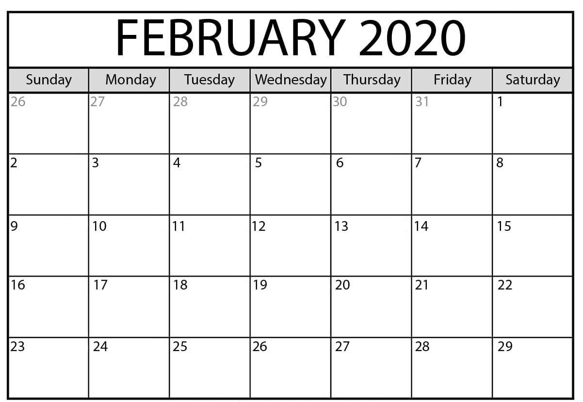 Free Download February 2020 Calendar Printable Pdf Word  Calendar Templates 2020 Printable