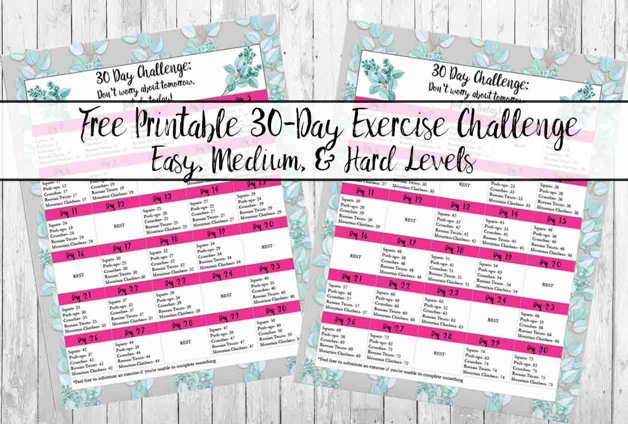Free Exercise Printable 30-Day Challenge: Easy, Medium  30 Day Fitness Challenges Printables