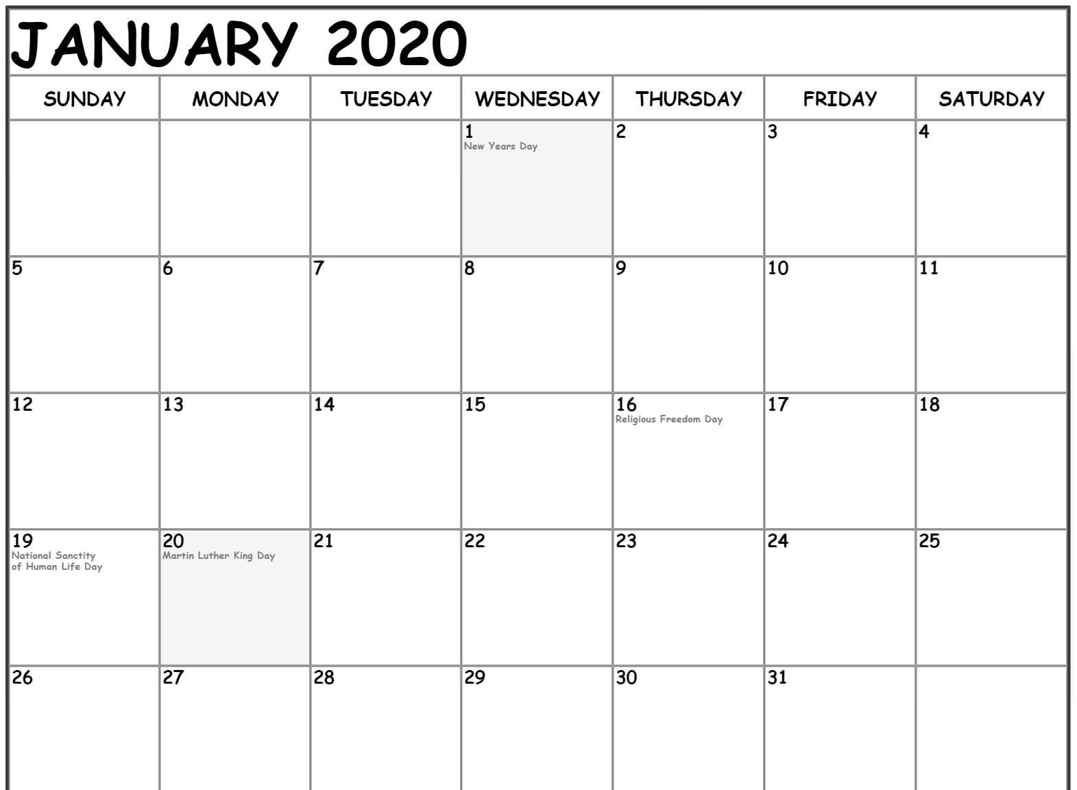 Free Fillable January Calendar 2020 Printable Editable With  Free Monthly Calendar Print Out 2020 With Holidays