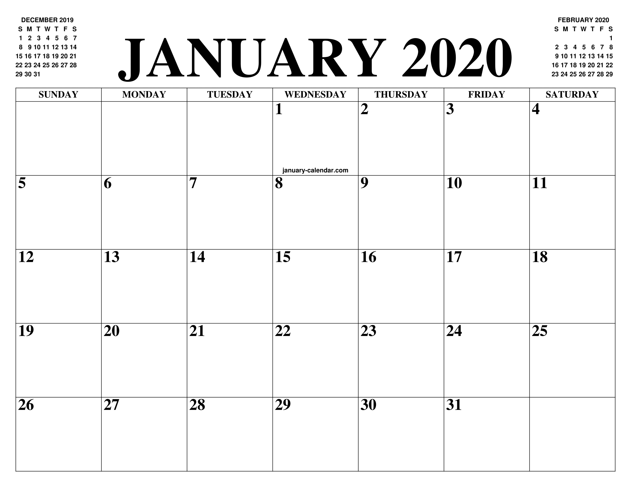 Free January Calendar 2020 Printable Template Blank In Pdf  Editable Baptist Calendar 2020 Printable