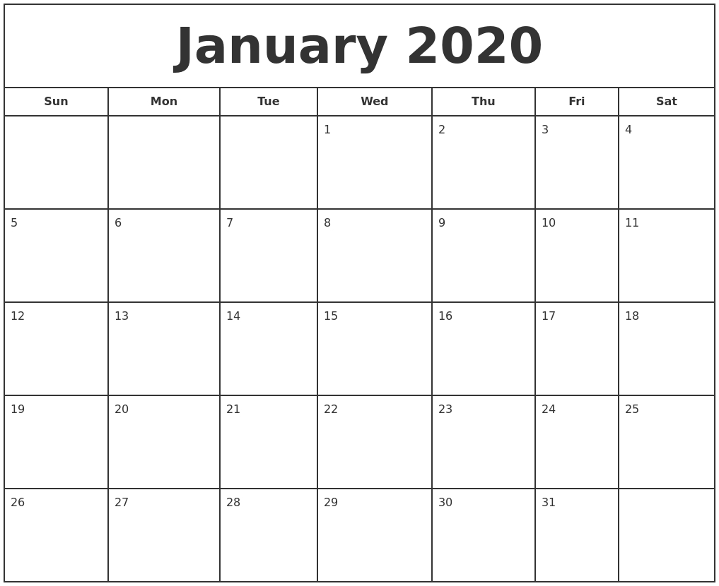 Free January Calendar 2020 Printable Template Blank In Pdf  Printable February 2020 Calendar Page