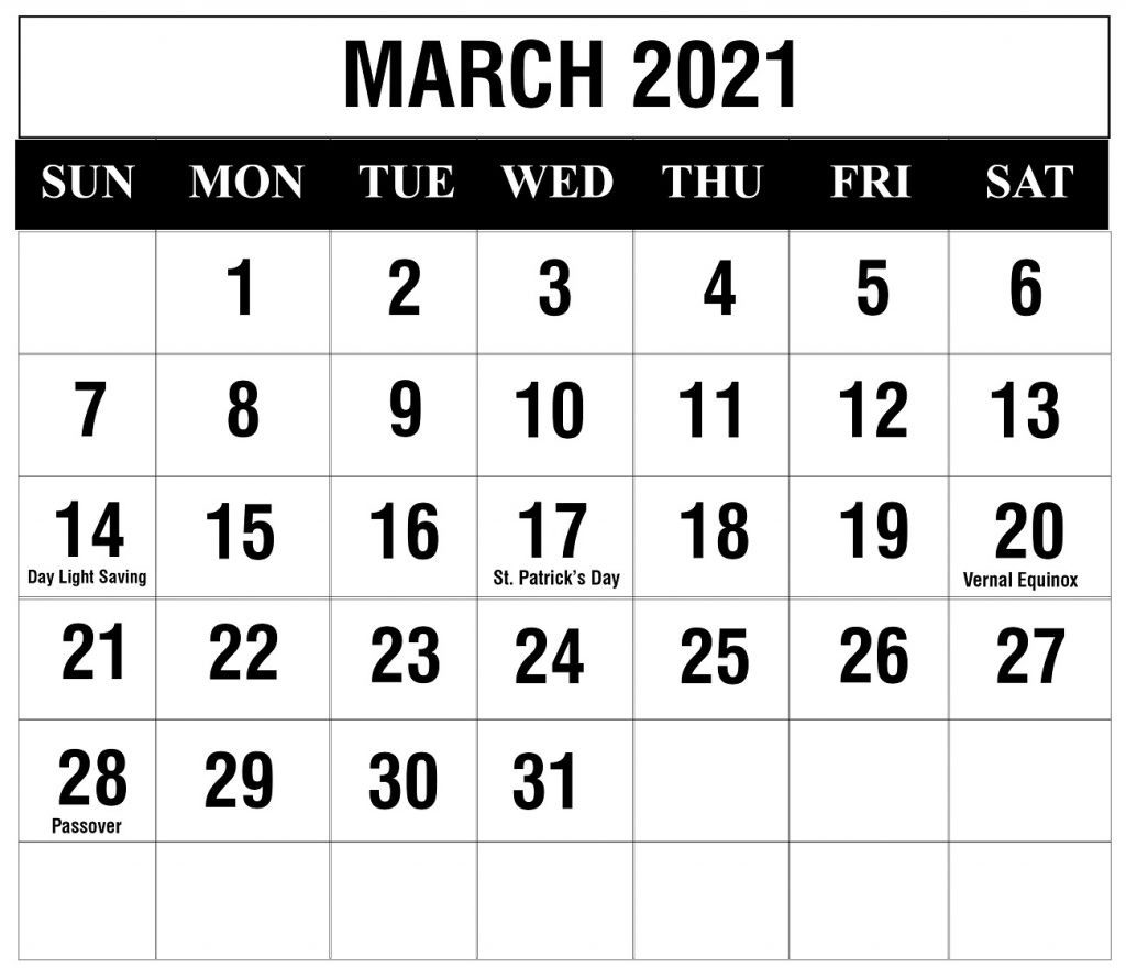 Free March 2021 Printable Calendar Template In Pdf, Excel  Julian Calendar 2021 Excel Spreadsheet