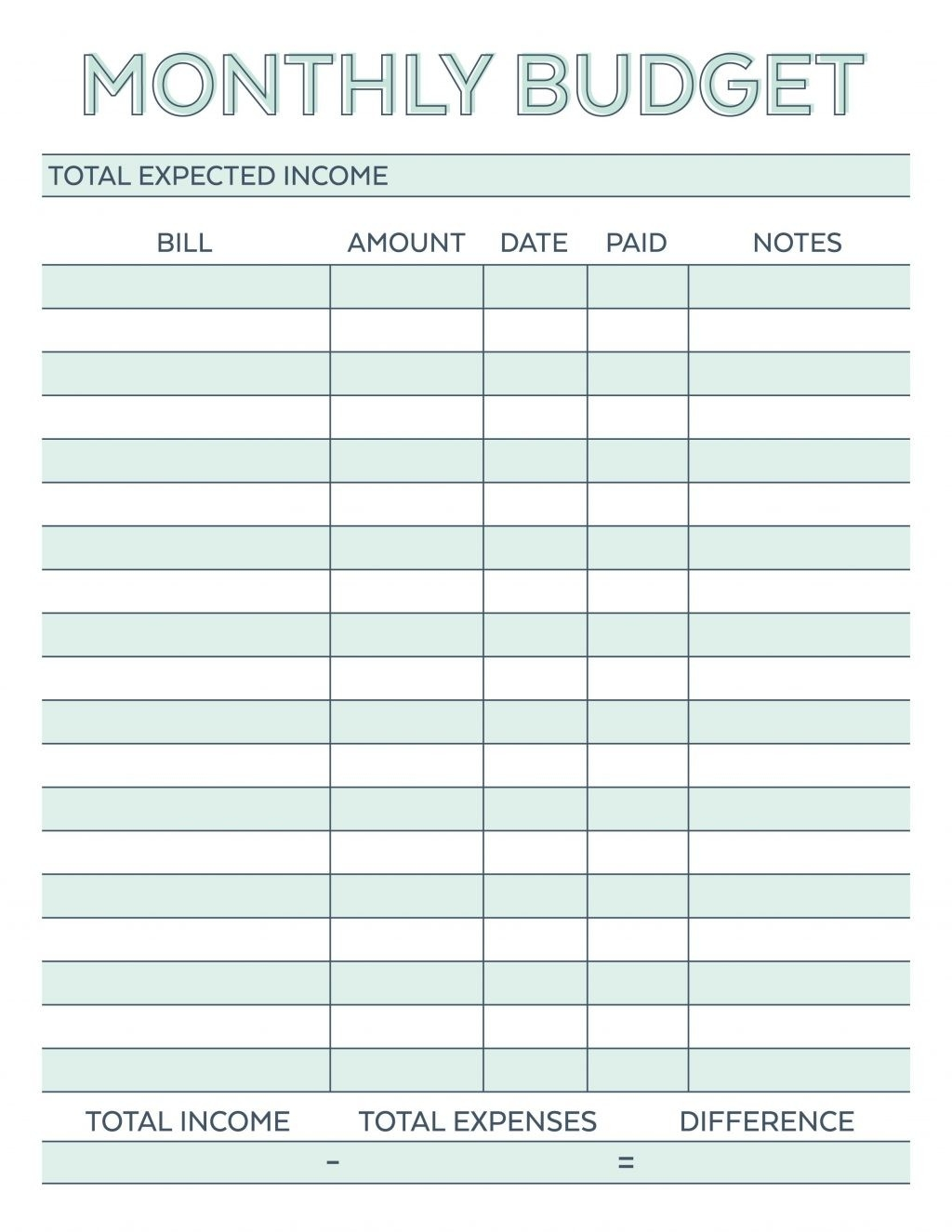 Free Personal Monthly Budget Spreadsheet Late Example Excel  Free Monthly Payment Sheet