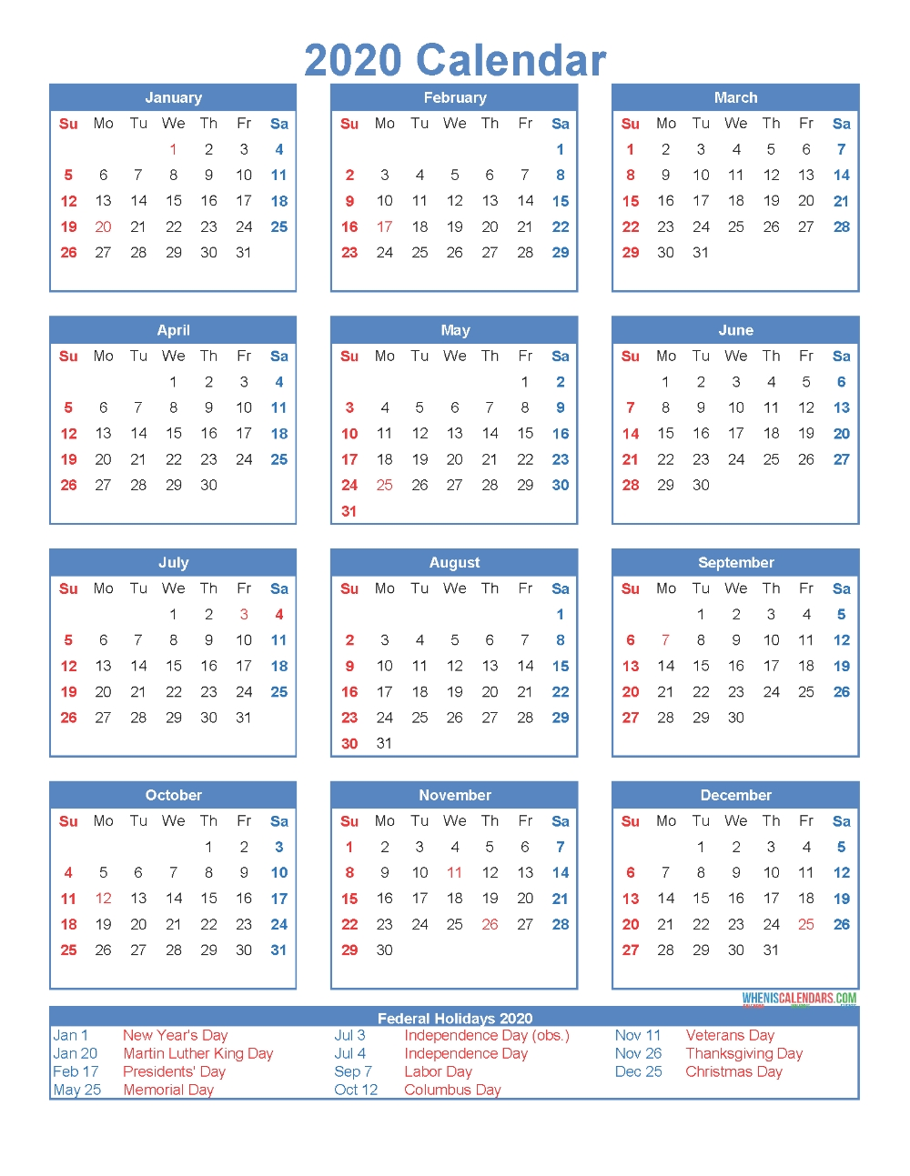 Free Printable 12 Month Calendar 2020 With Holidays  12 Month Calendar 2020 Printable Free