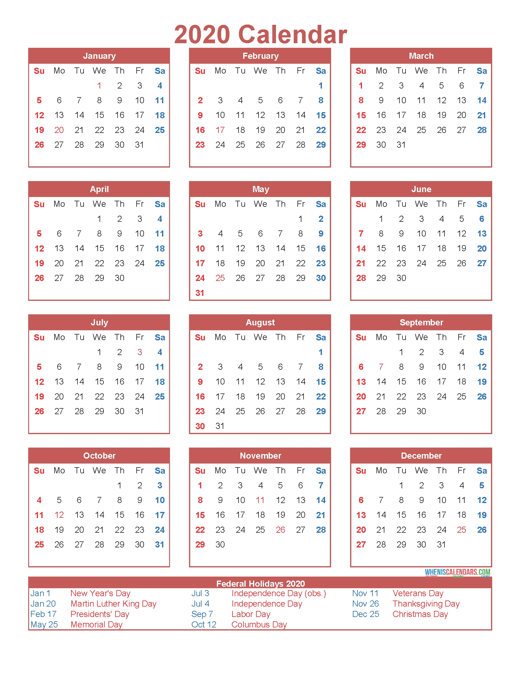 Free Printable 12 Month Calendar On One Page 2020 – Free  One Page Yearly 2020 Calendar Free Printable