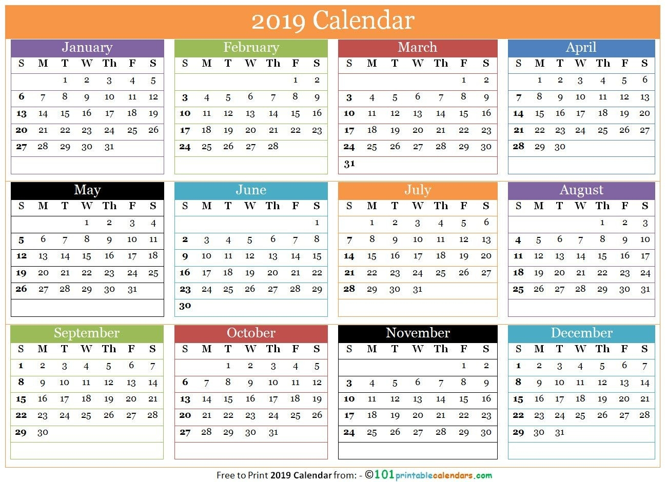 Free Printable 12 Months Calendar 2019 In One Page | 12  3 Month On One Page