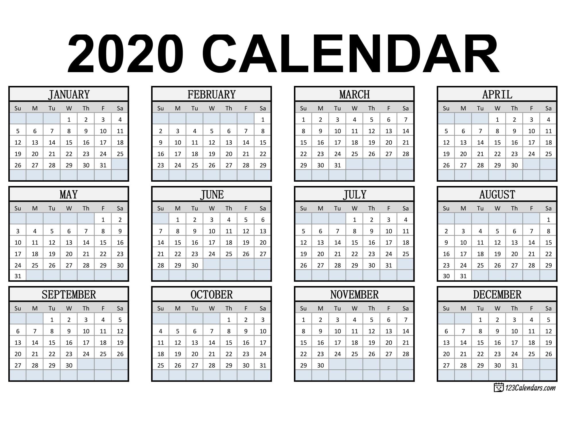 Free Printable 2020 Calendar | 123Calendars  Printable Checkbook Size Calendar