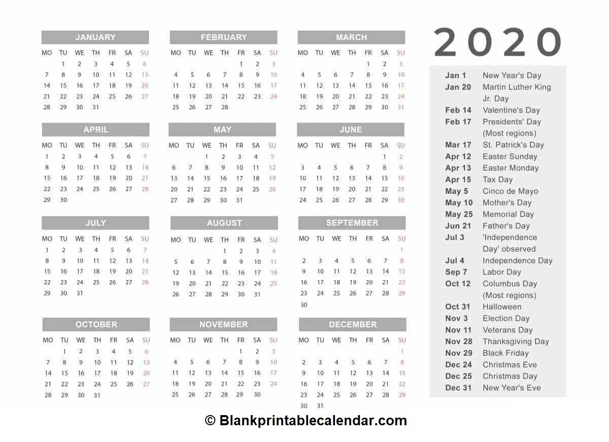 Free Printable 2020 Calendar|Monthly And Yearly Templates  12 Month Calendar 2020 Printable Free