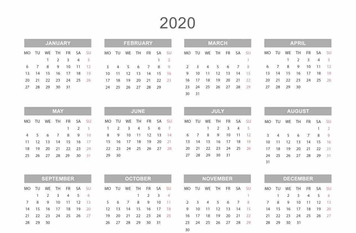 Free Printable 2020 Monthly Calendar Template With Holidays  One Page Yearly 2020 Calendar Free Printable