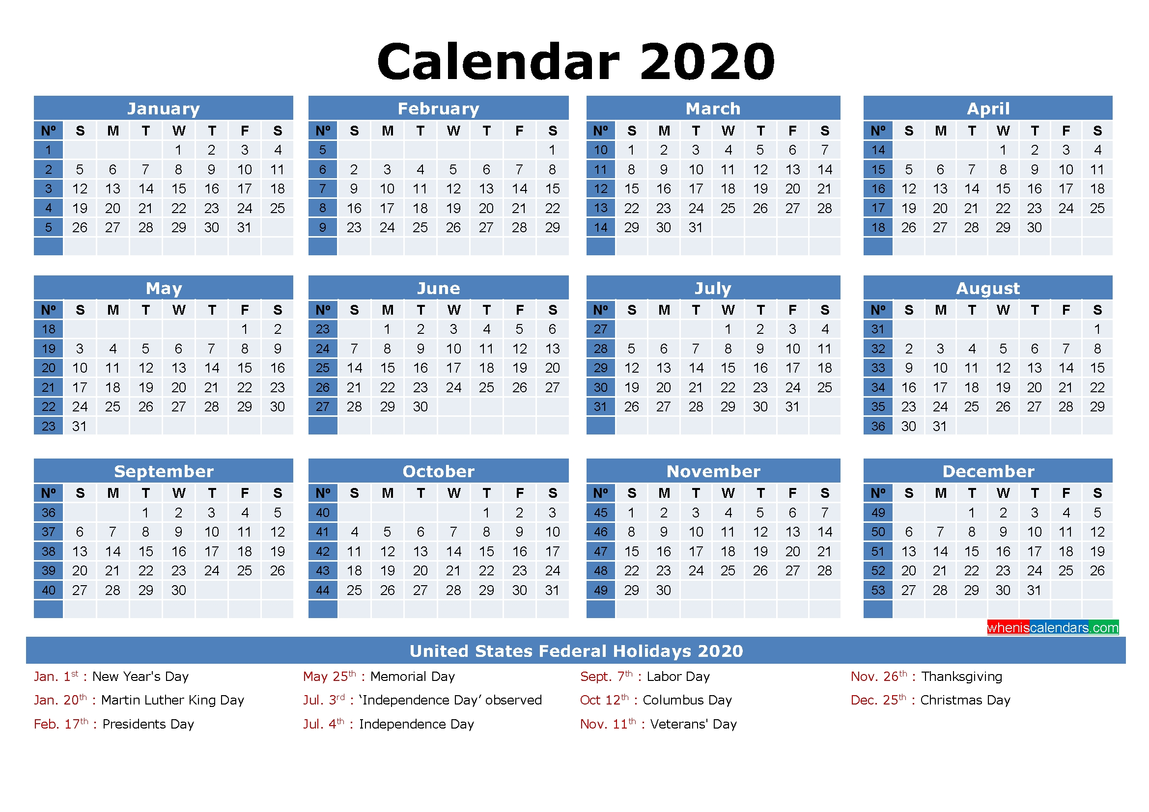Free Printable 2020 Monthly Calendar With Holidays  Julian Day Calendar 2020