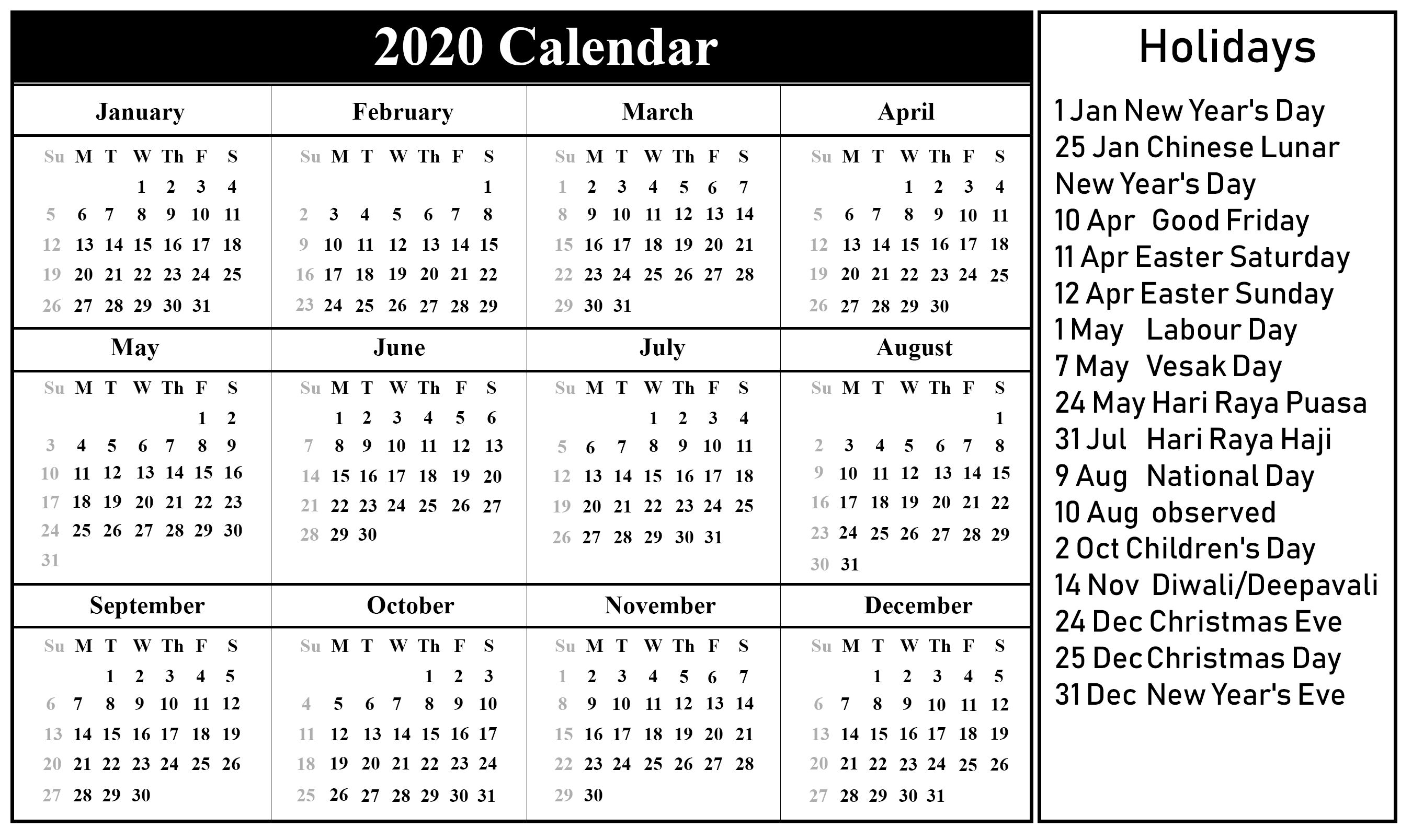 Free Printable 2020 Monthly Calendar With Holidays Word Pdf  Free Monthly Calendar Print Out 2020 With Holidays