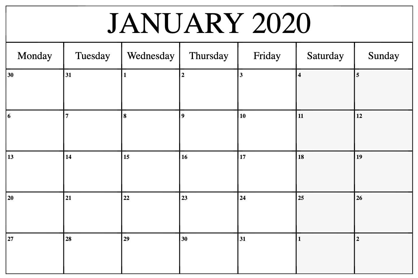 Free Printable 2020 Monthly Calendar With Holidays Word Pdf  Free Printable Calendar 2020 Monthly