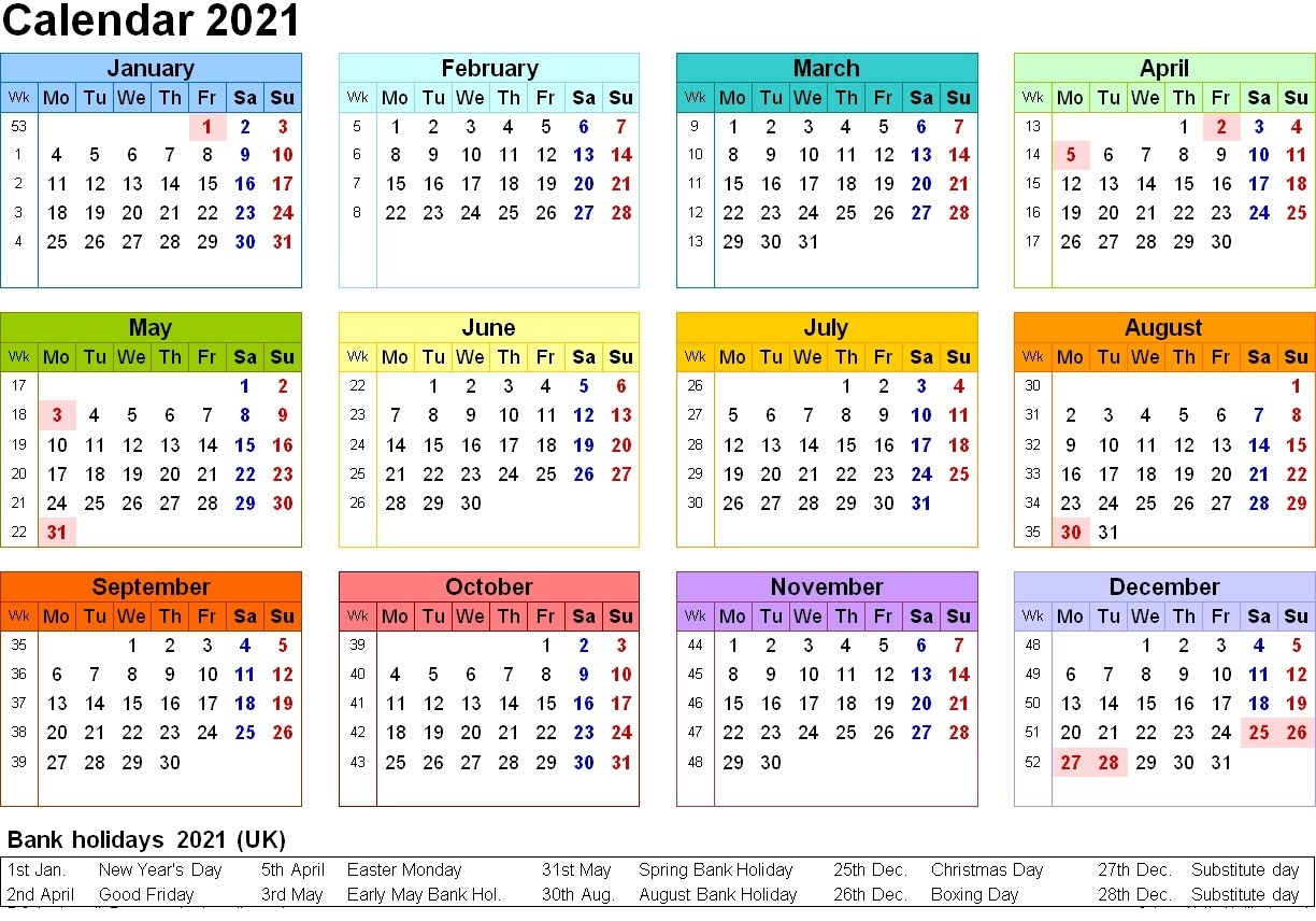 Free Printable 2021 Calendar Template 12 Months | Calendar  12 Month 2021 Printable Calendar Type On