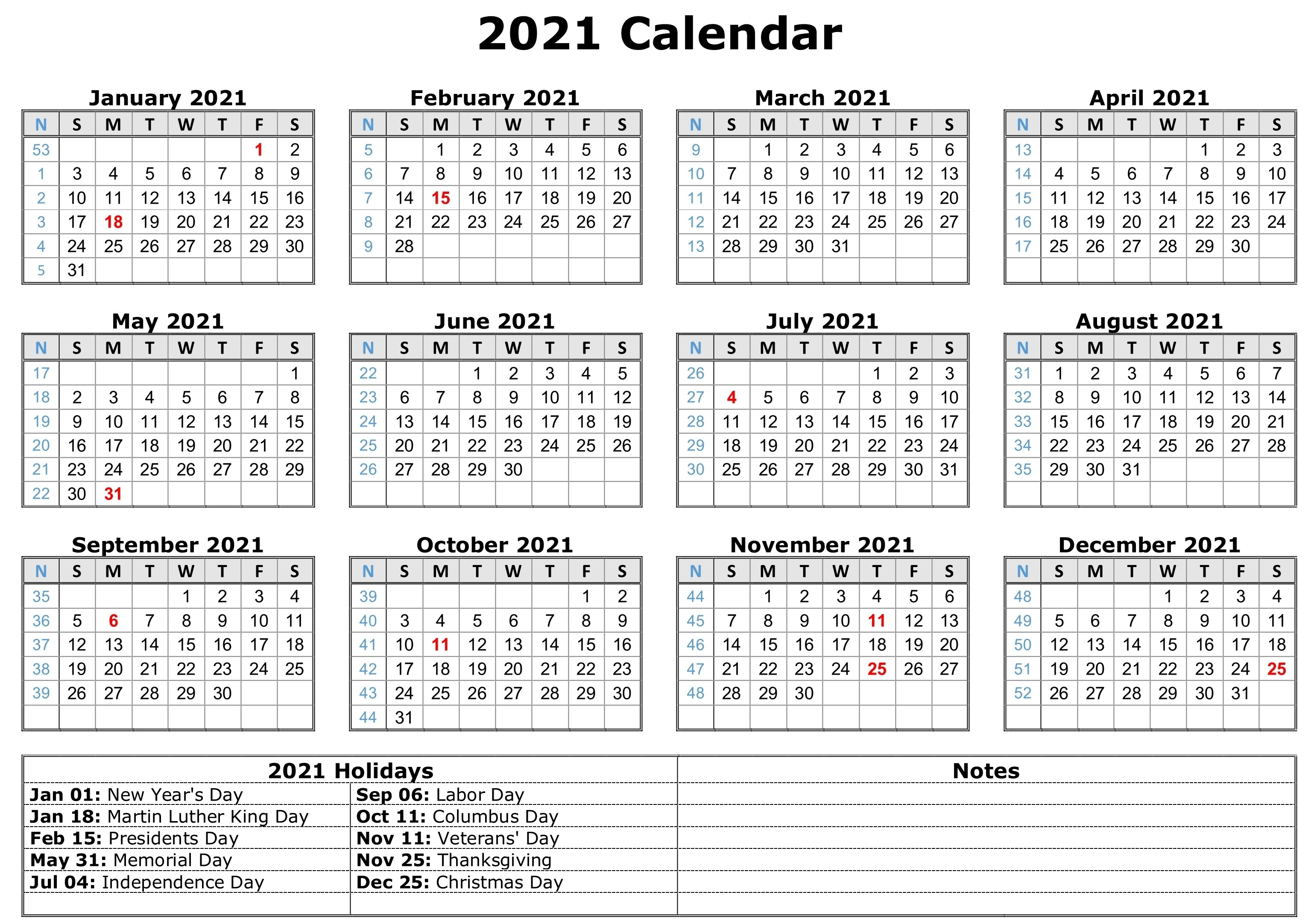 Free Printable 2021 Monthly Calendar With Holidays Word Pdf  12 Month 2021 Printable Calendar Type On