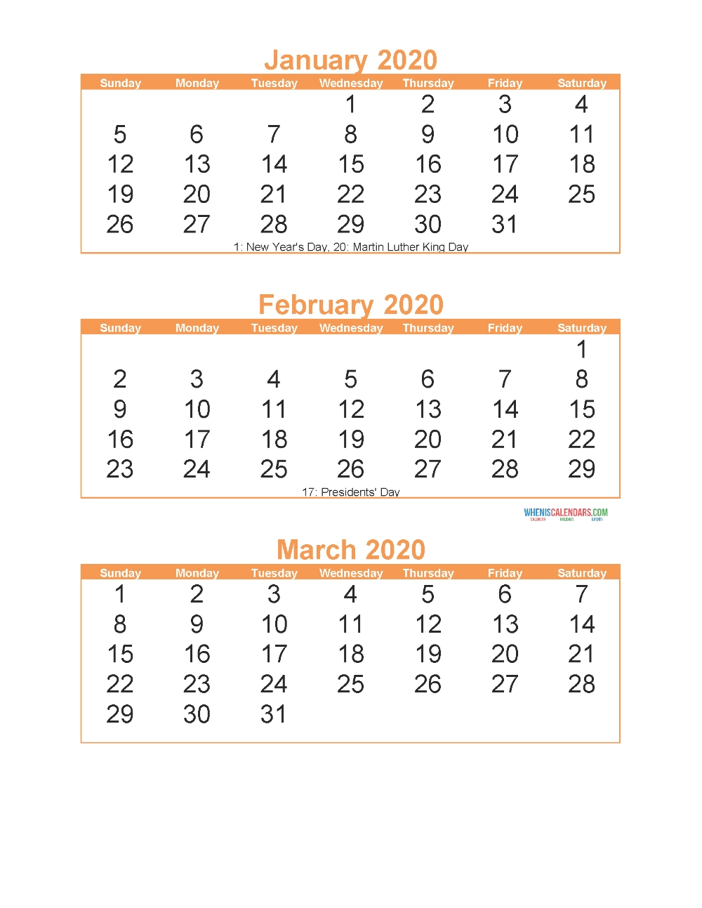 Free Printable 3 Month Calendar 2020 January February March  3 Month Calendar Free Print