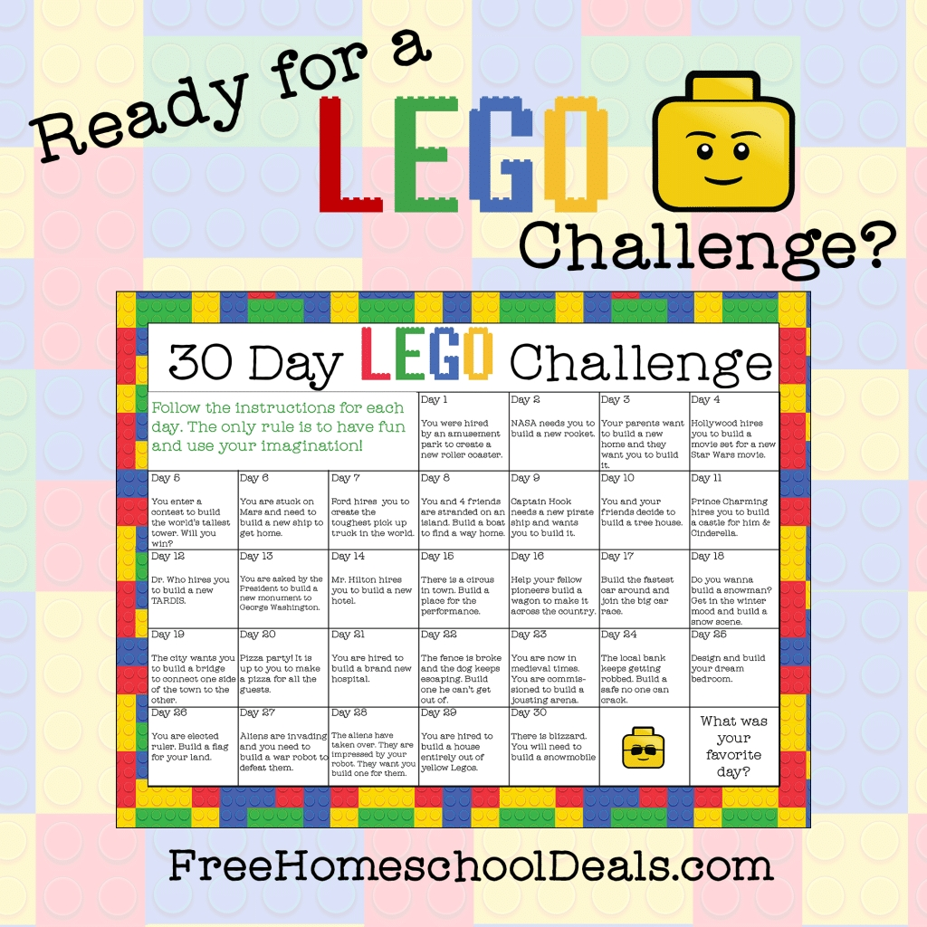 Free Printable 30-Day Lego Challenge (Instant Download!)  30 Day Challenge Calendar