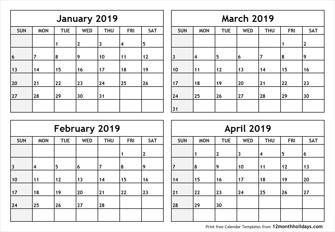 Free Printable 4 Month Calendars 2020 | Monthly Printable  2020 Calendar Template Free 3 Months Per Page