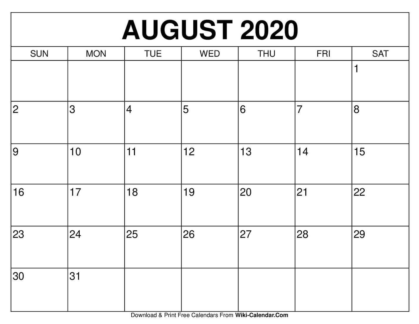 Free Printable August 2020 Calendars  Blank Calendar For August 2020 Printable