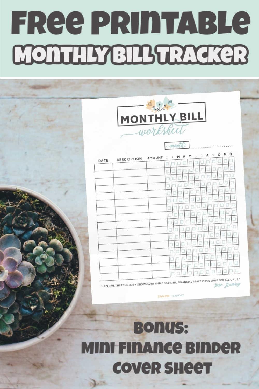 Free Printable Bill Worksheet Tool | Finances | - Savor + Savvy  Free Printable Bill Worksheets