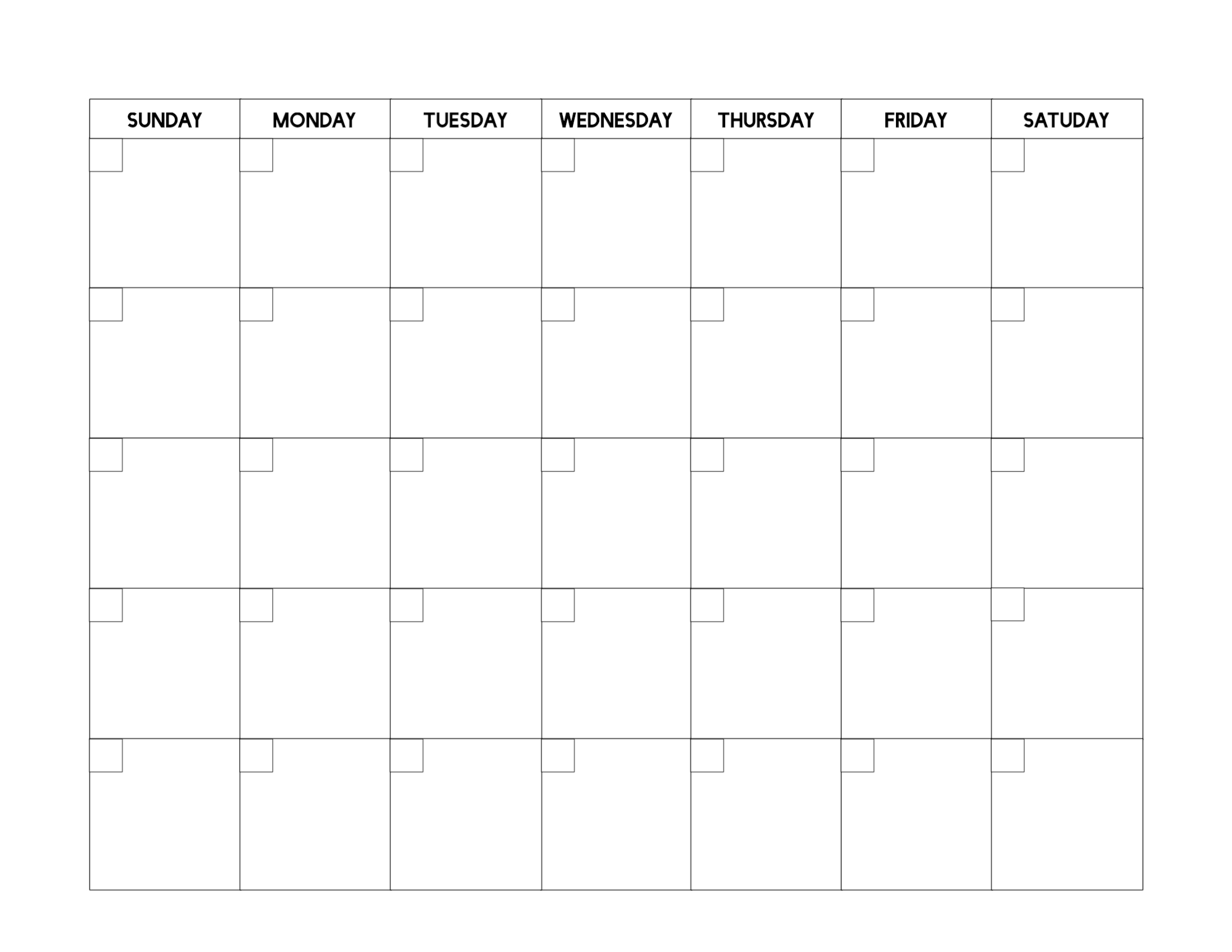 Free Printable Blank Calendar Template - Paper Trail Design  Full Page Blank Calendar Printable