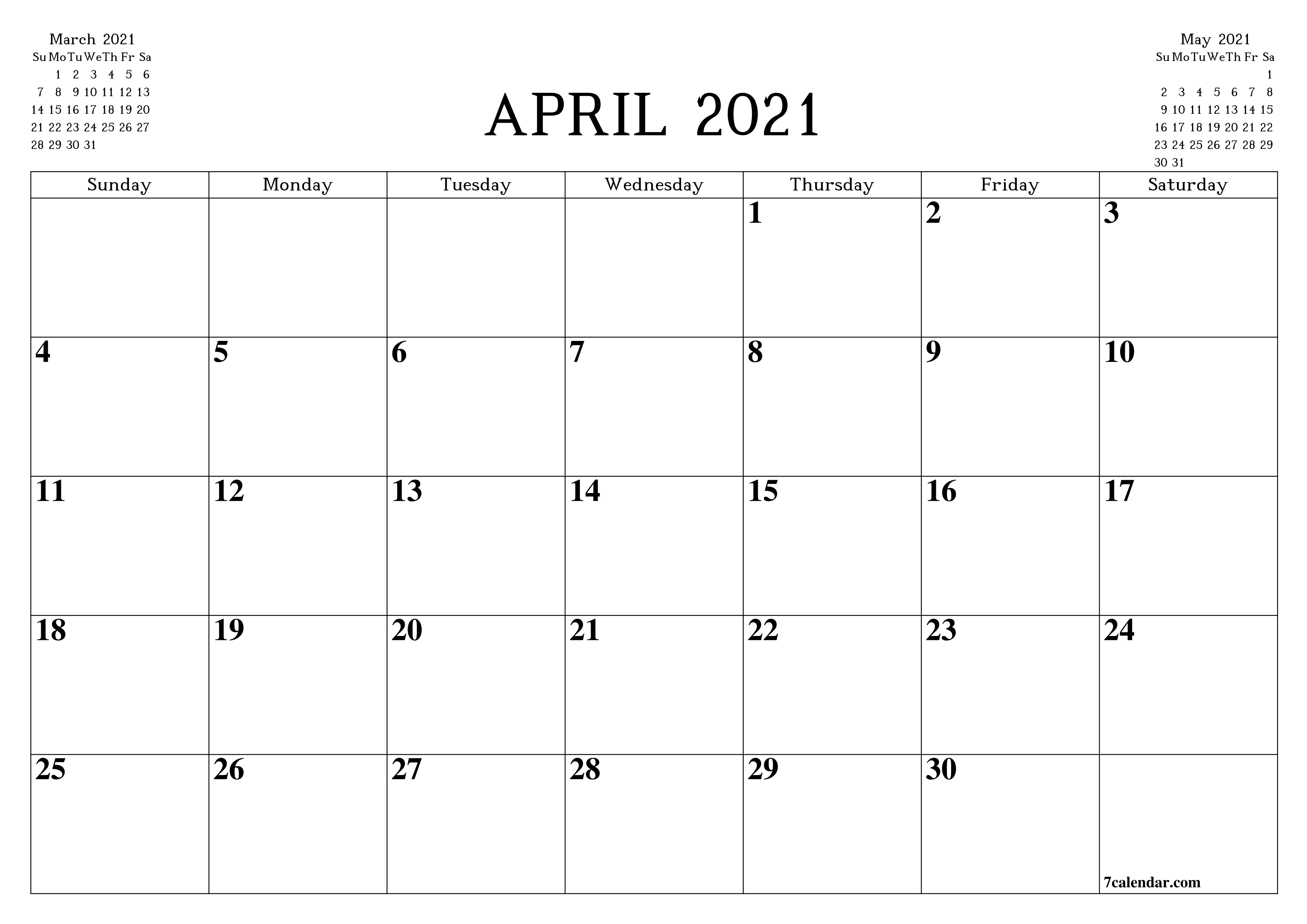 Free Printable Blank Monthly Calendar And Planner For April  2021 Attendance Calendar Printable Pdf