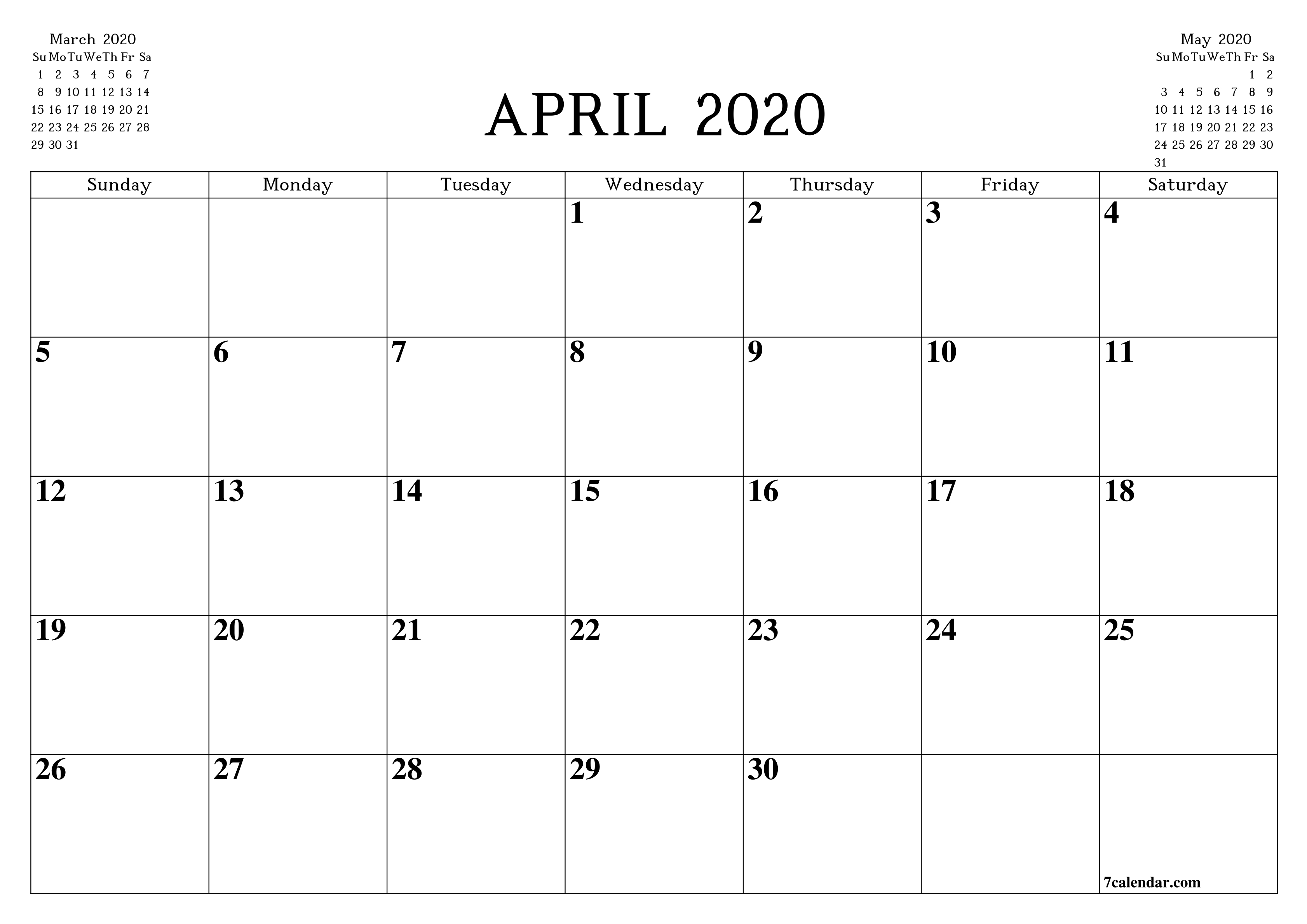Free Printable Blank Monthly Calendar And Planner For April  A3 Printable Calendar 2020