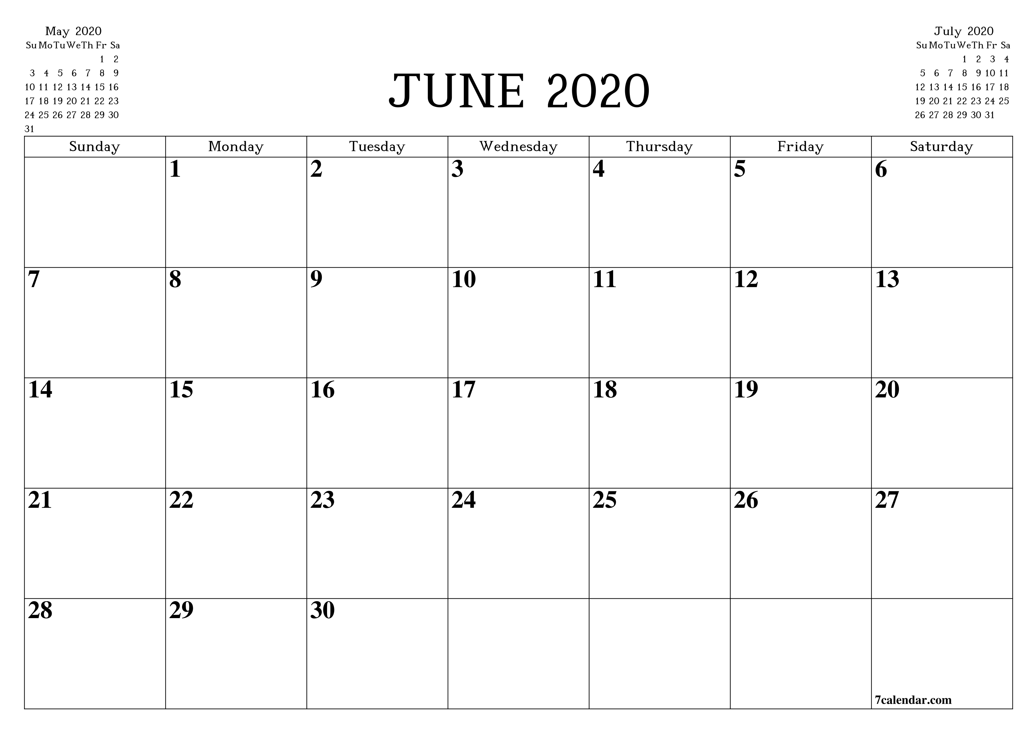 Free Printable Blank Monthly Calendar And Planner For June  Full Size Printable Calendar 2020