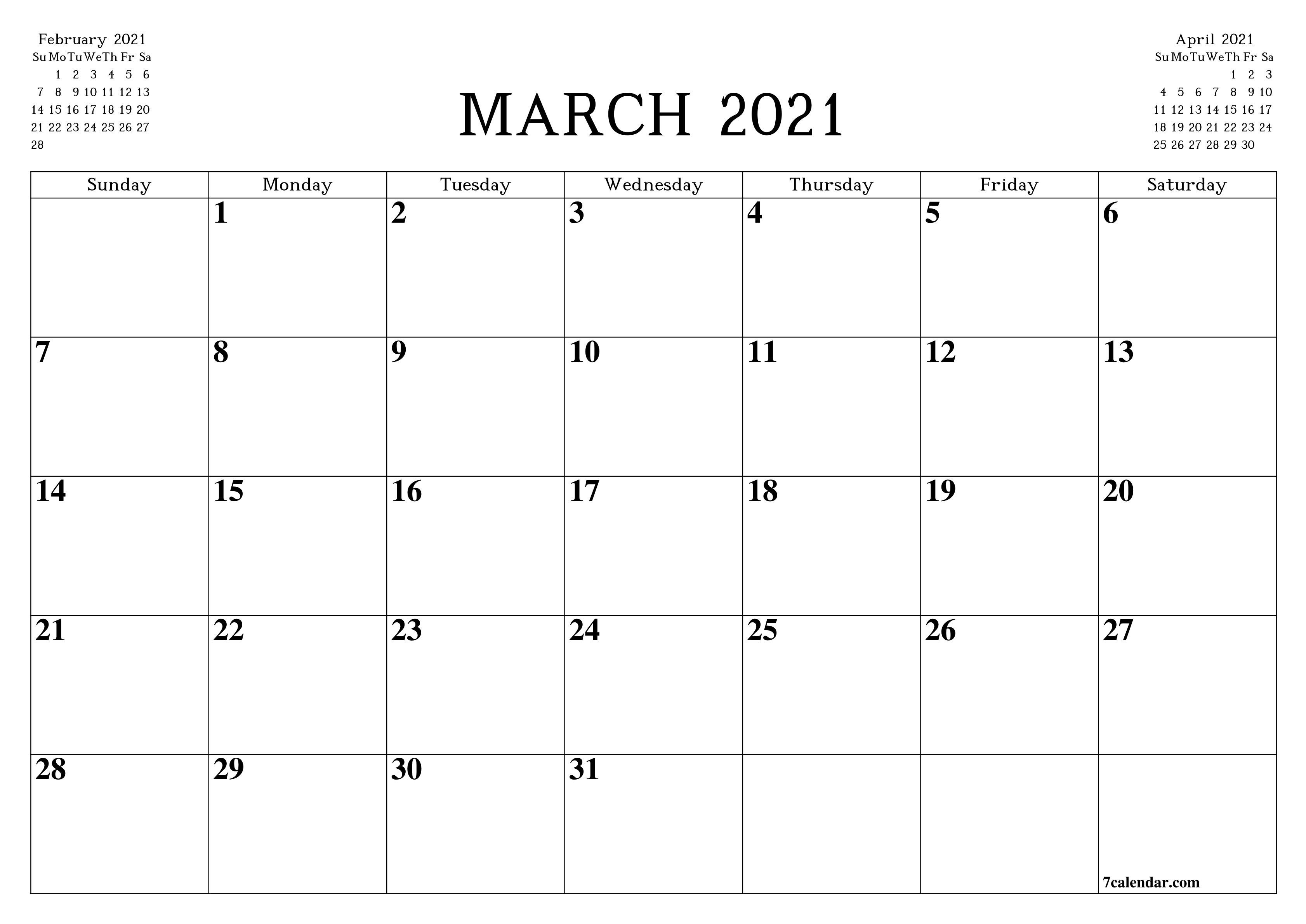 Free Printable Blank Monthly Calendar And Planner For March  2021 Printable Free Attendance Tracker
