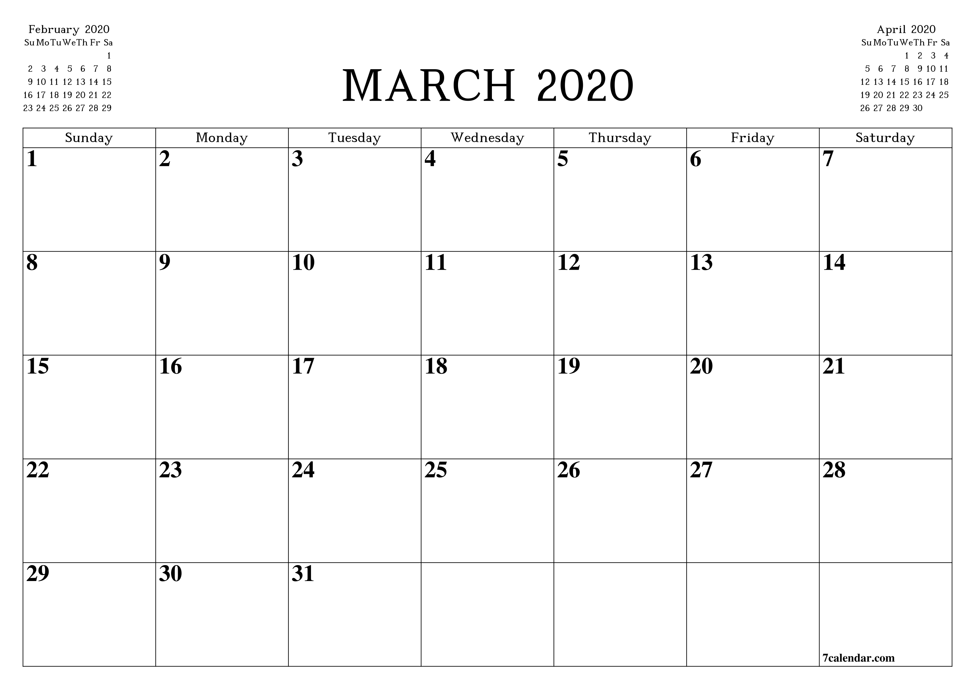 Free Printable Blank Monthly Calendar And Planner For March  A3 Calendar 2020