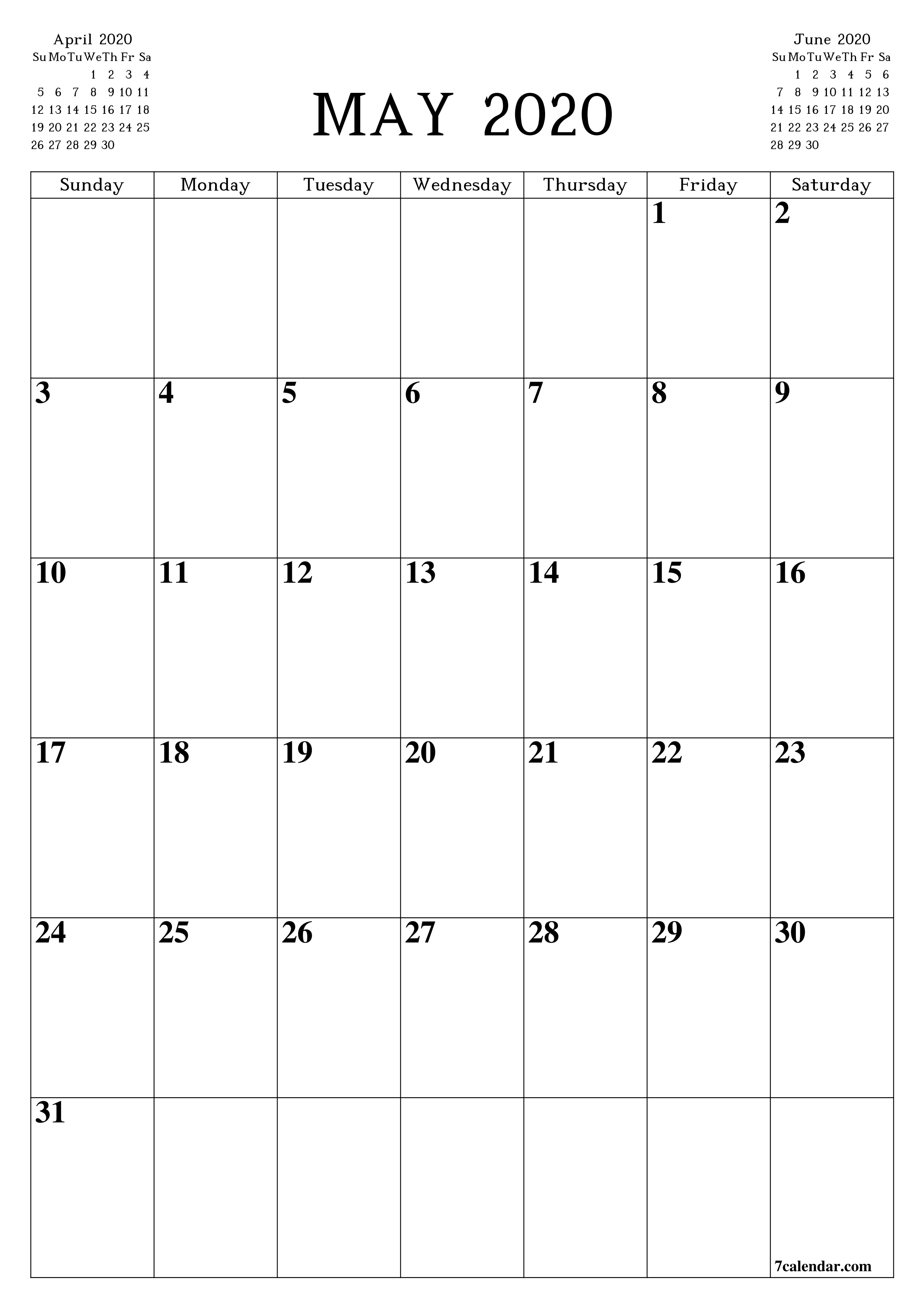 Free Printable Blank Monthly Calendar And Planner For May  A3 Printable Calendar 2020